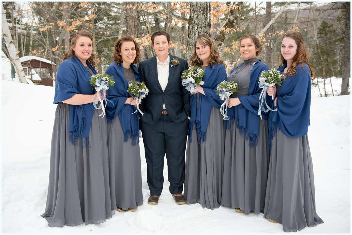 Baxter state park wedding new england wedding photographer grey bridesmaids dresses with shawls for winter wedding ombrellifo Image collections