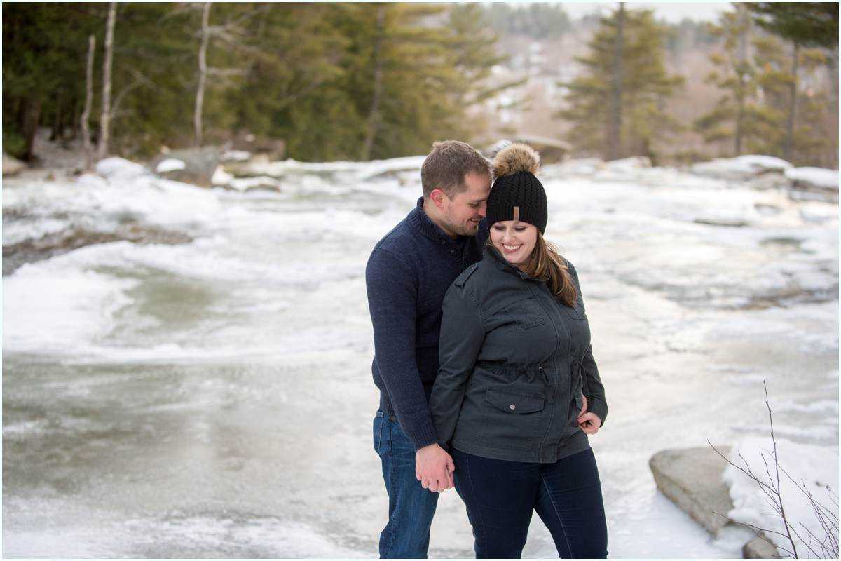 Adventurous couple in love in New Hampshire for photos