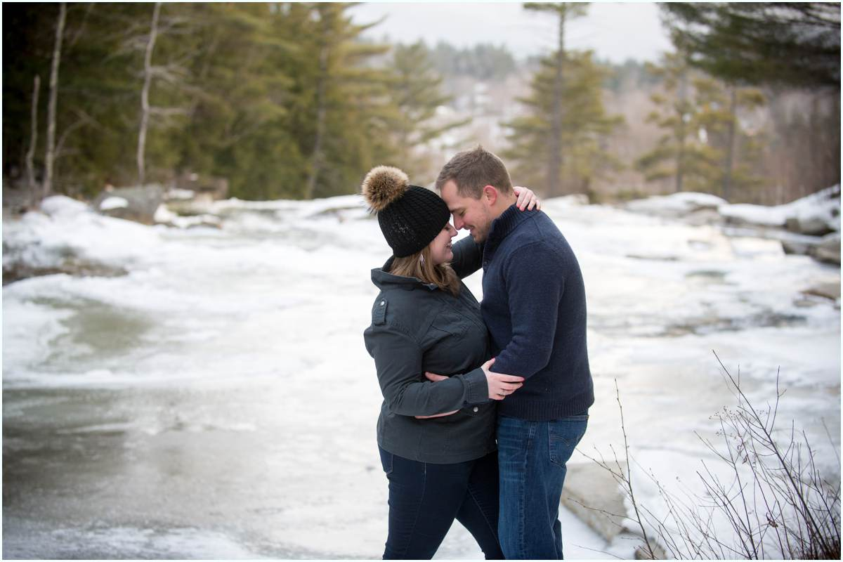 Winter engagement photos in New Hampshire