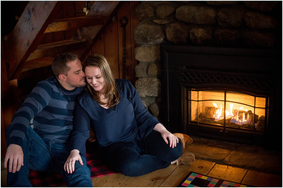 Couple in love in log cabin in New Hampshire