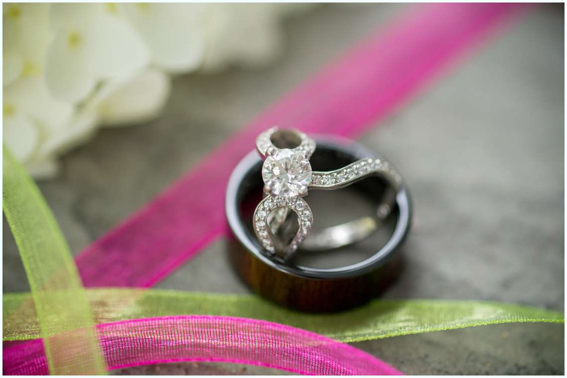 Diamond ring and wedding bands wooden men's ring