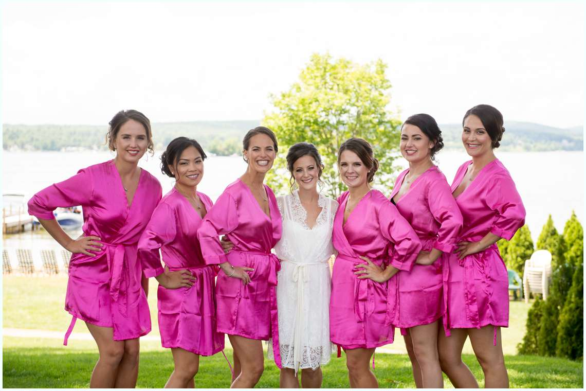 Bride with bridesmaids in robes at a New England Wedding