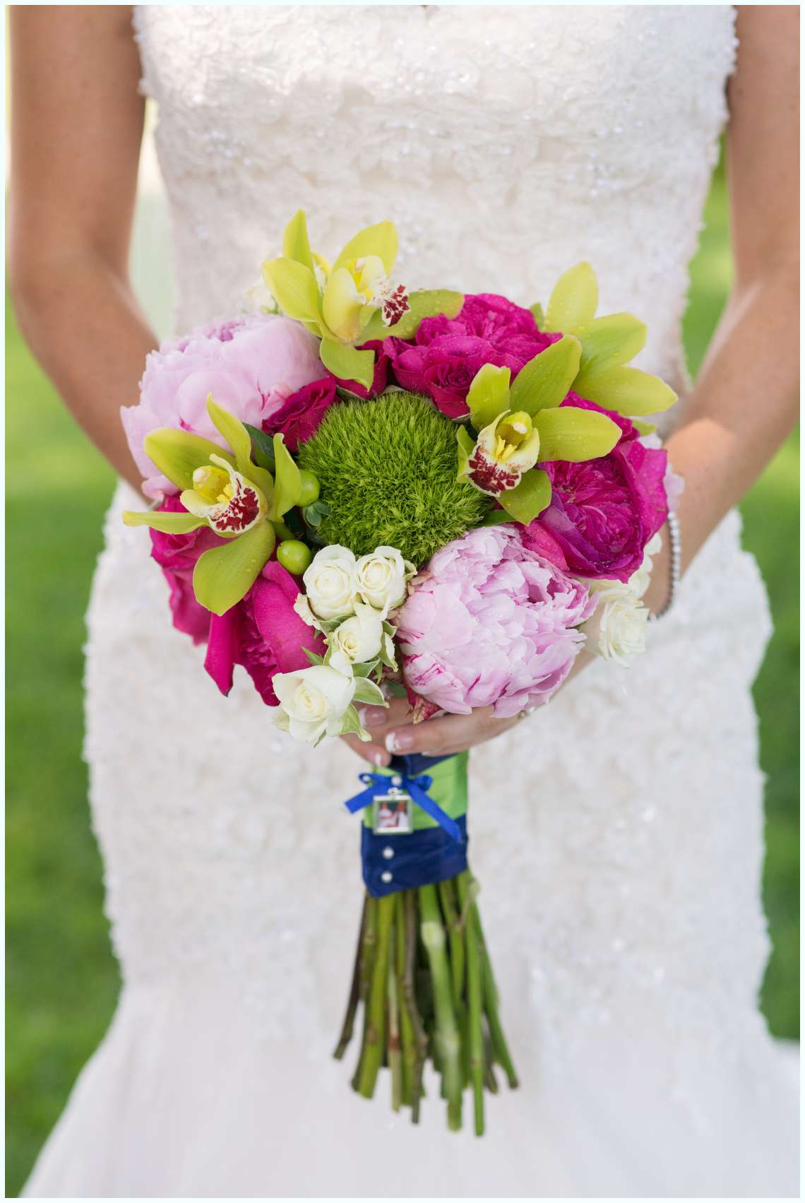 hot pink and lime green wedding bouquets