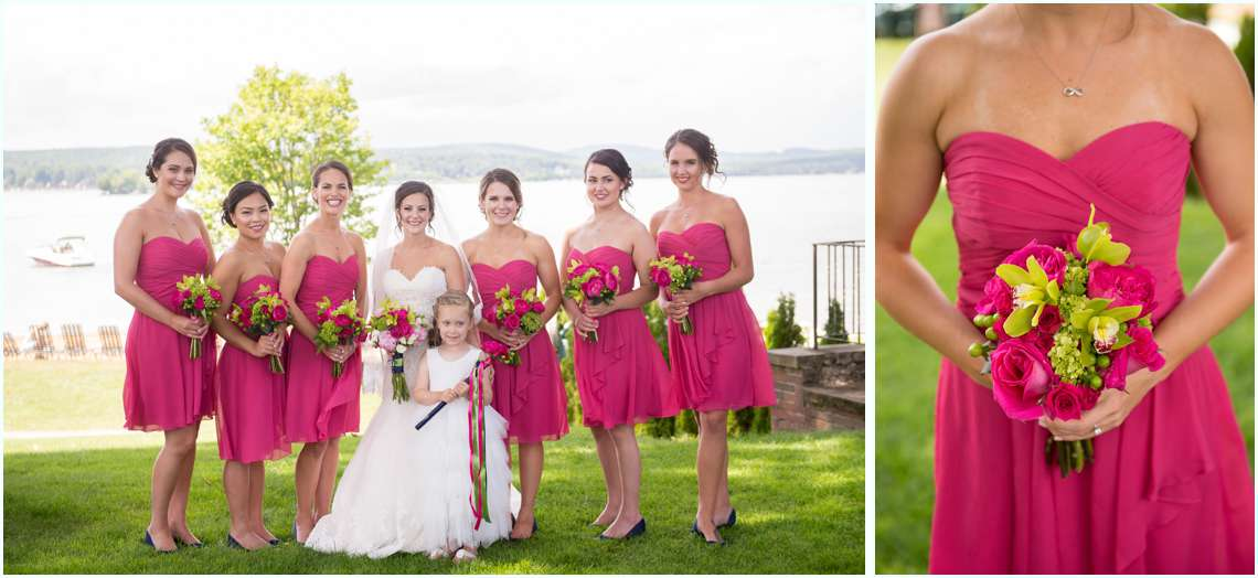 Excited bridesmaids and flower girl in hot pink short dresses