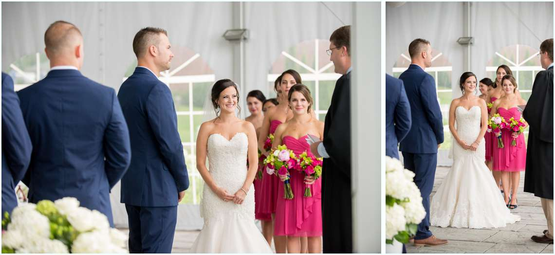 New Hampshire wedding ceremony with happy couple on wedding day