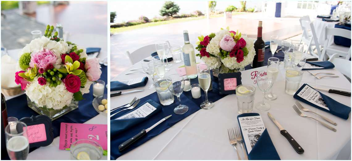 navy blue and pink wedding tables