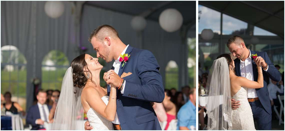 Happy couples first dance under a white tent in New Hampshire