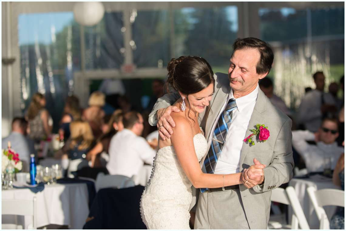 father daughter dance at outside reception in New Hampshire