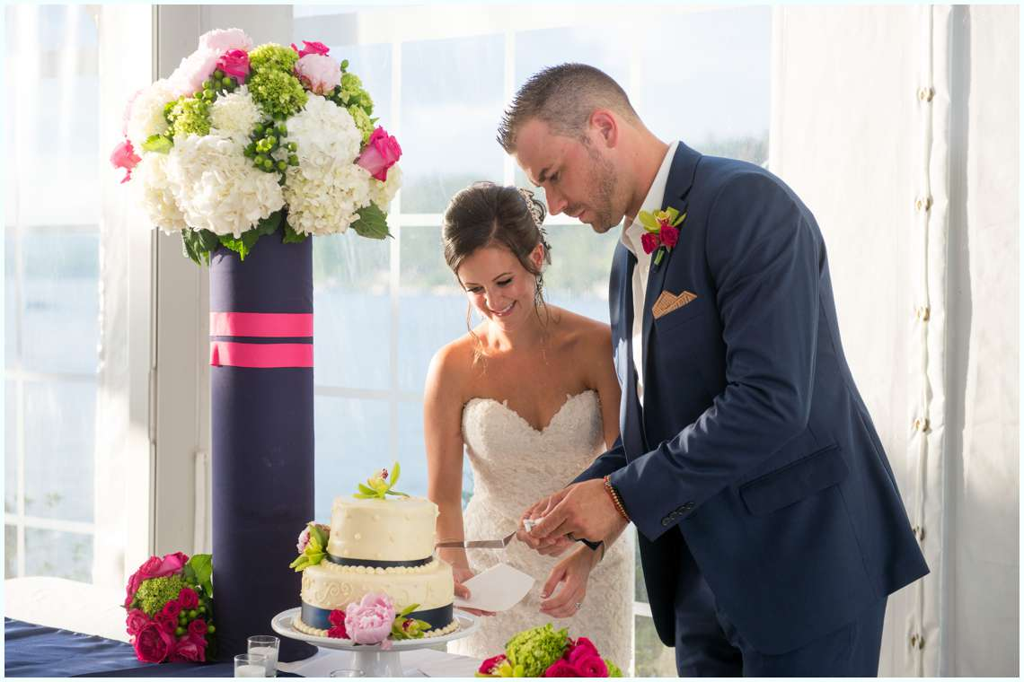 Bride and groom cutting cake at the Margate Resort wedding