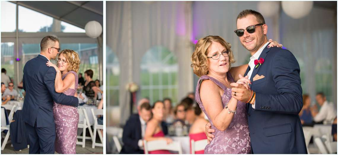 mother-son dance under a white tent in New Hampshire