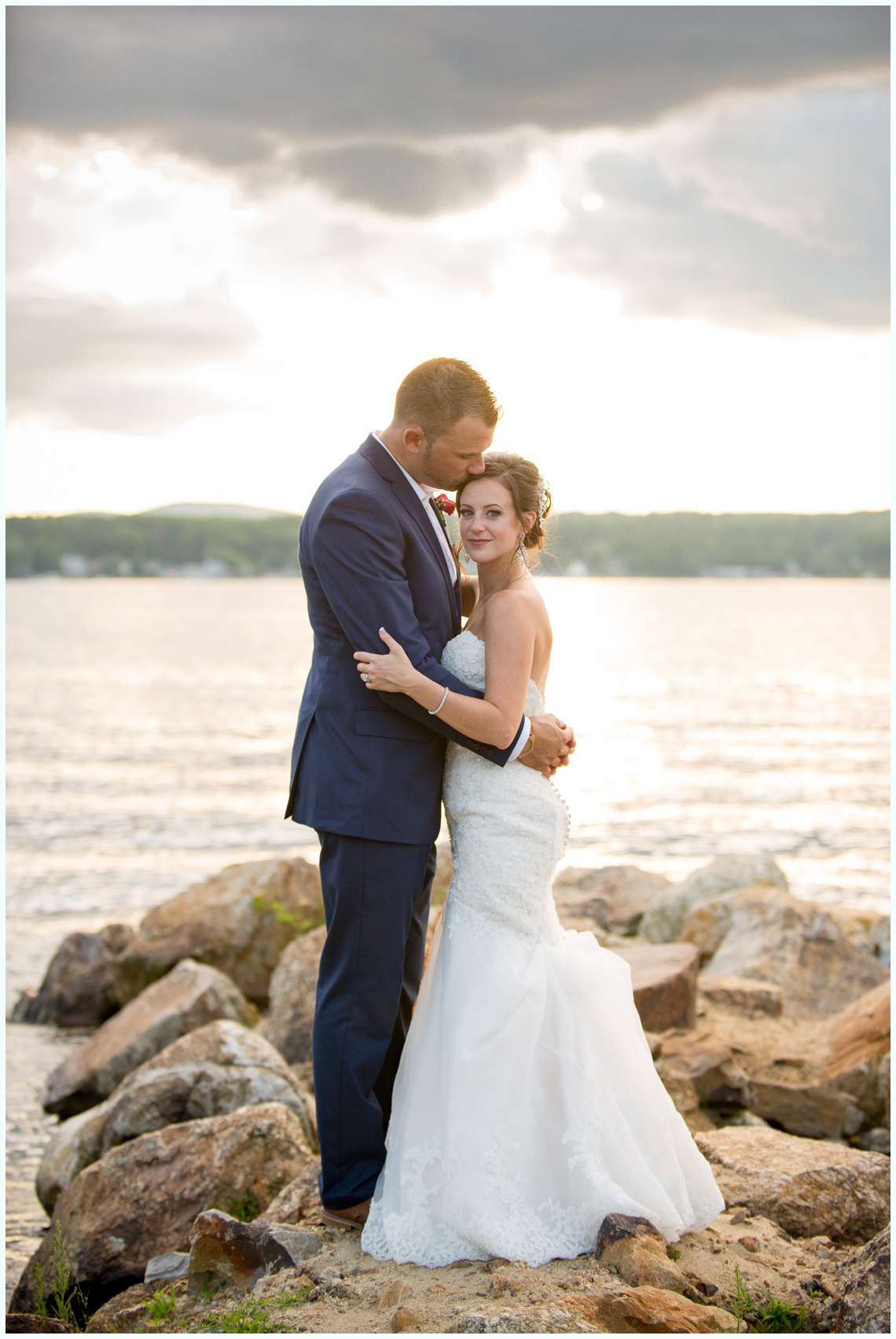 sunset photos with bride and groom