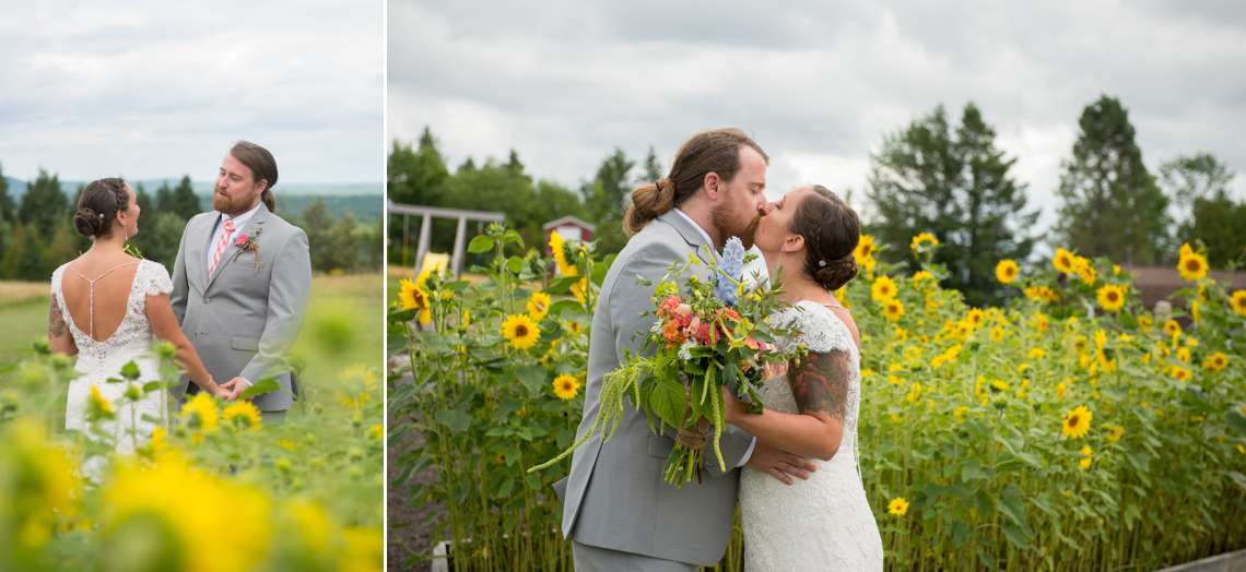 bride and groom kissing in sunflower field