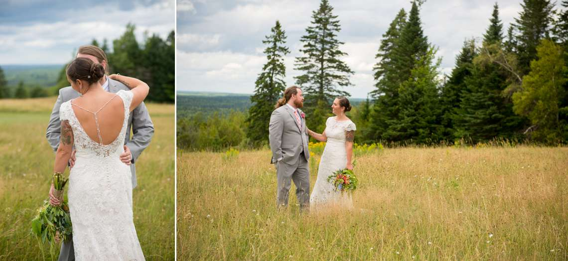 intimate wedding photos of bride and groom in a field
