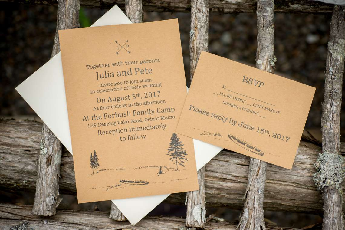 rustic wedding invitations for a camp wedding