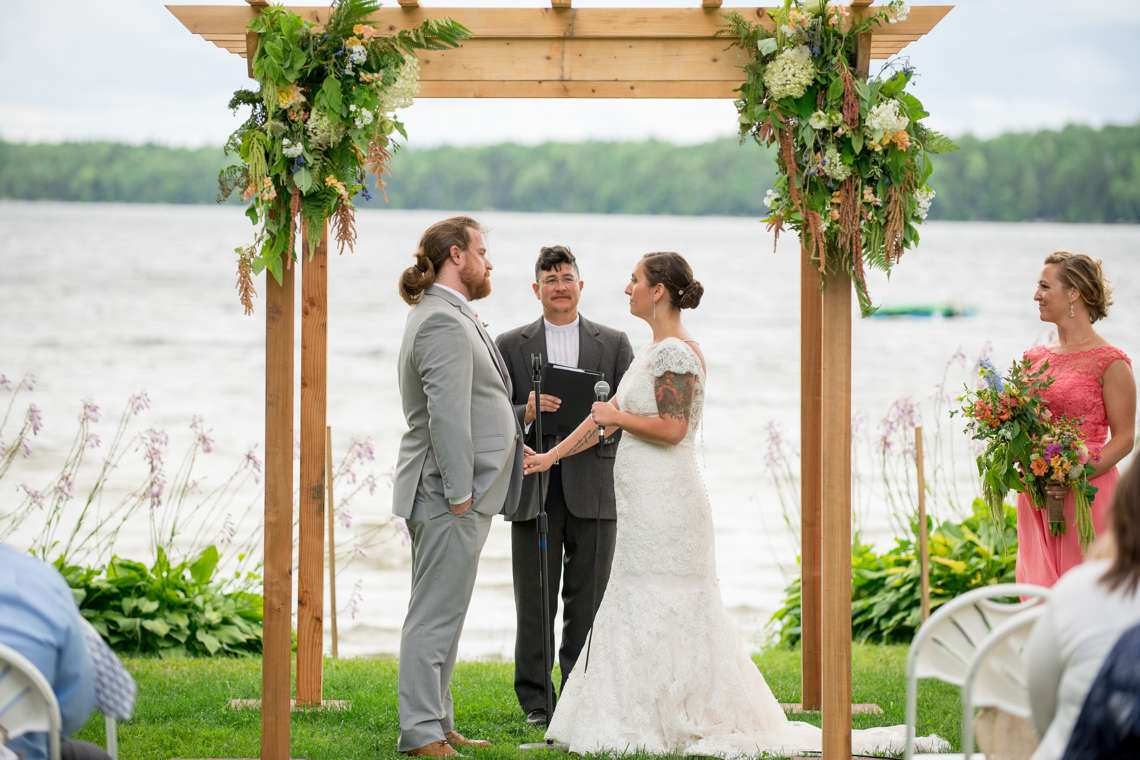 Wedding Ceremony on a Lake in Maine