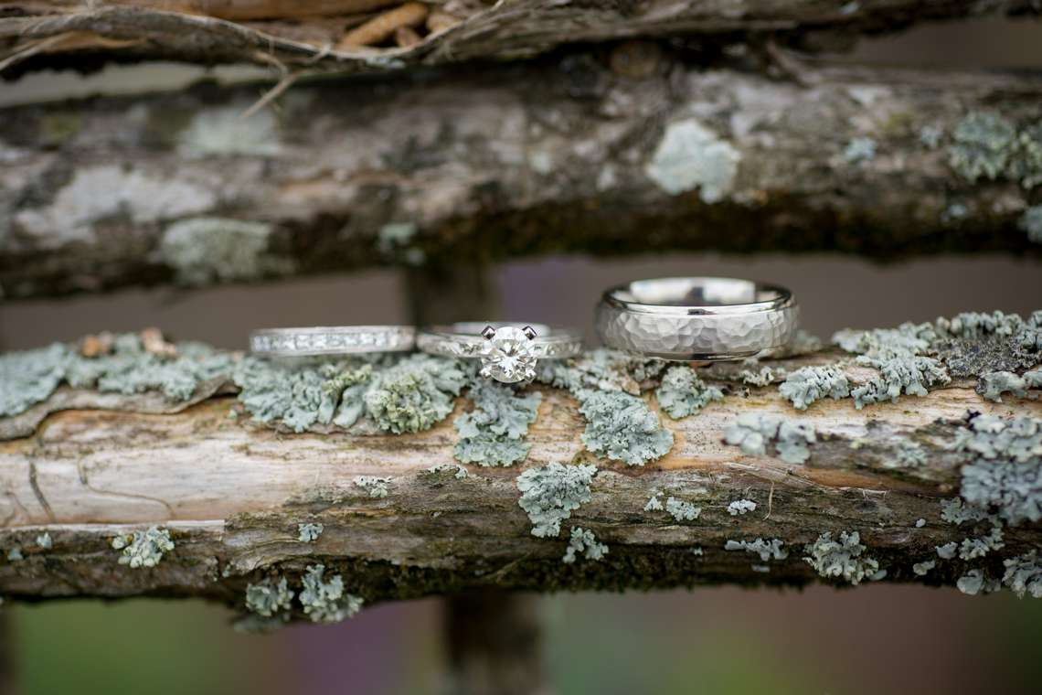 wedding rings at a rustic wedding on moss
