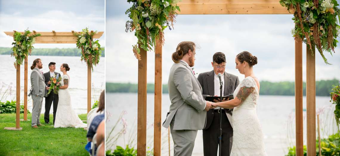 a wedding on a lake in Maine in the summer