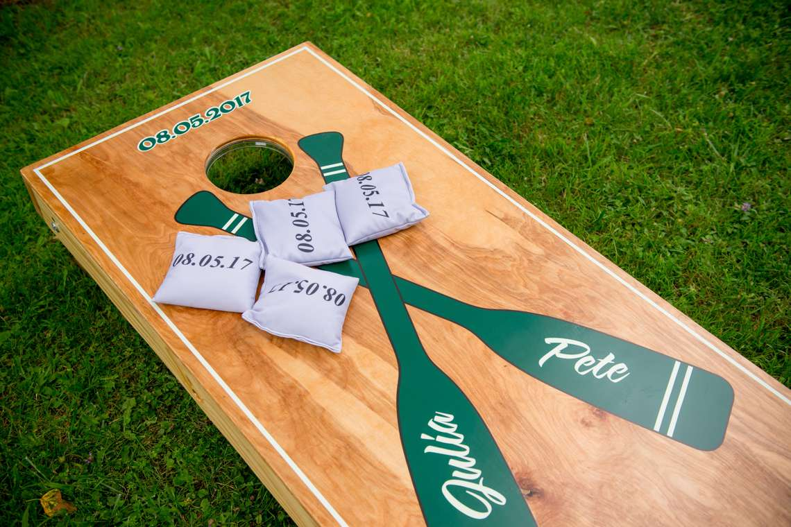 customized corn hole game for a wedding