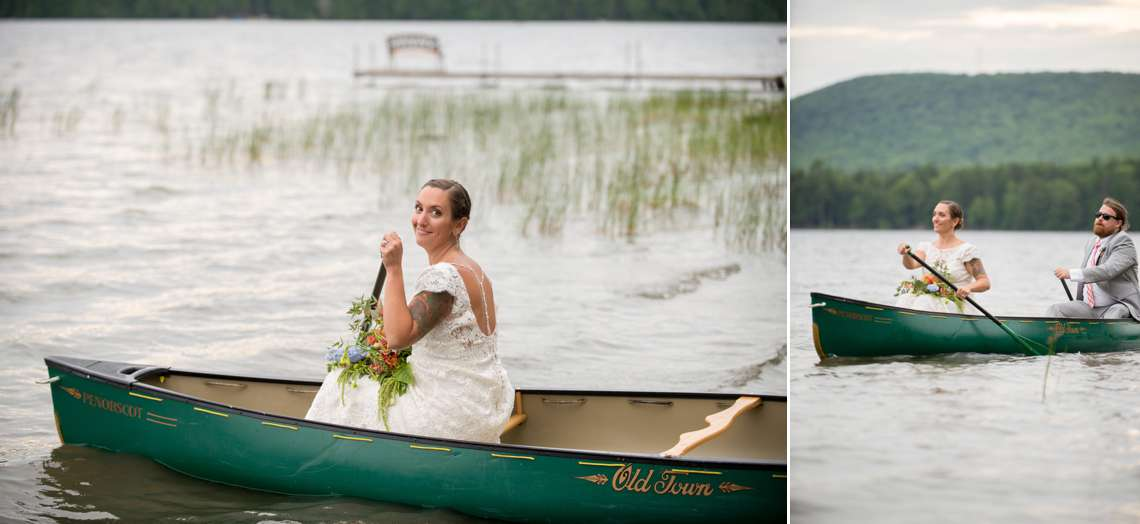 bride in a canoe at a Maine Camp Wedding