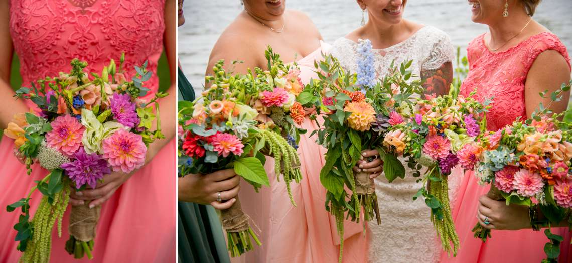 bright and dramatic wedding flowers