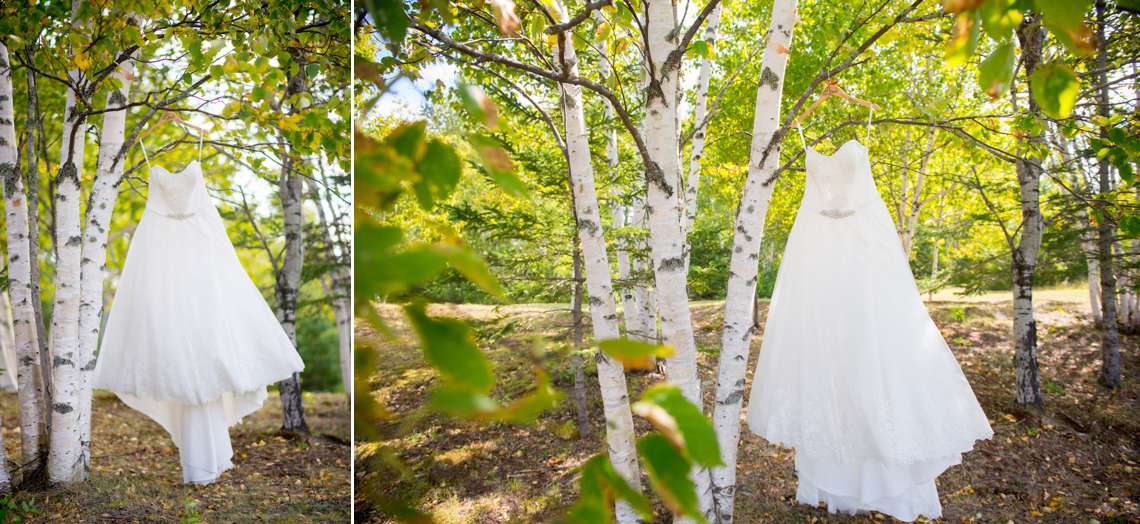 bride's dress hanging from trees on wedding day