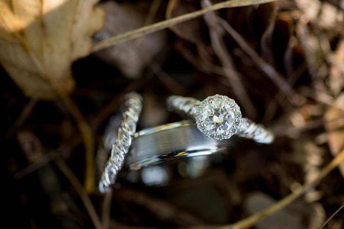 weddings rings in leaves