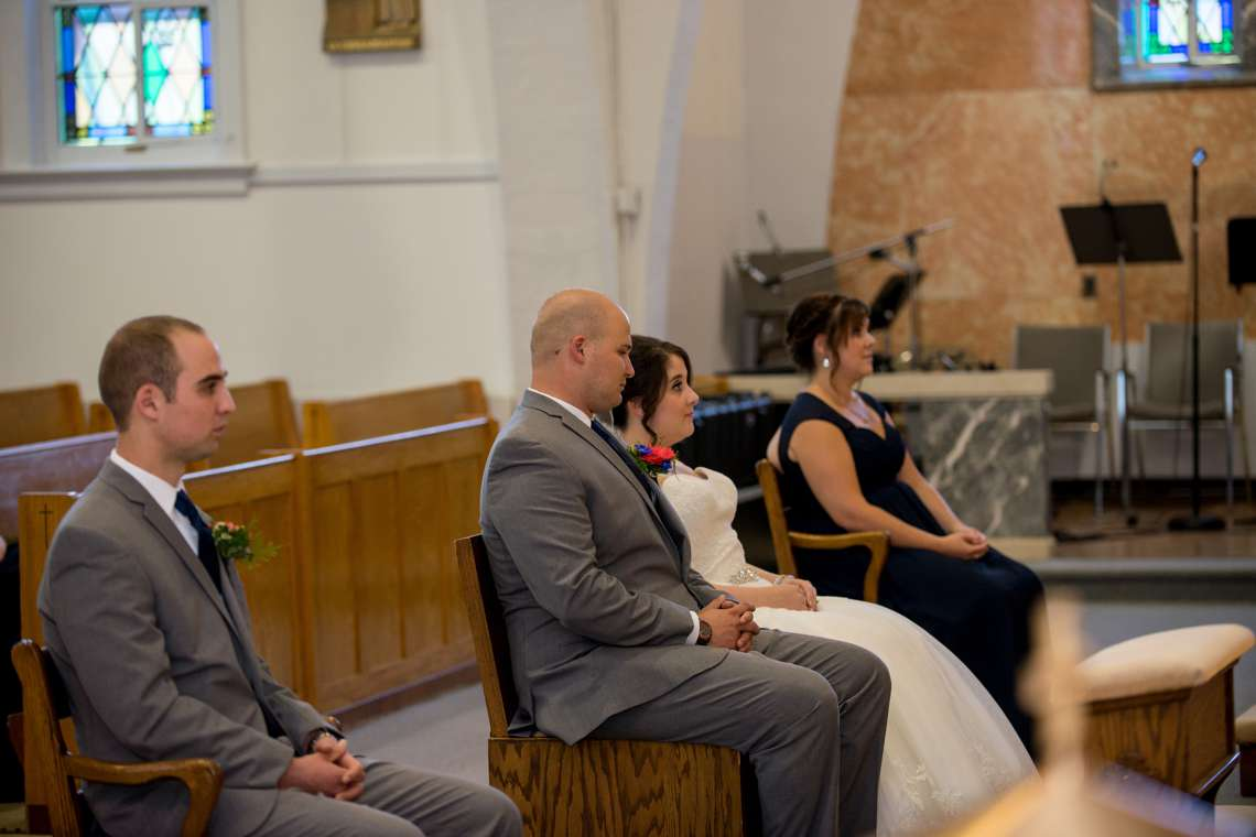 Wedding ceremony inside a Maine church