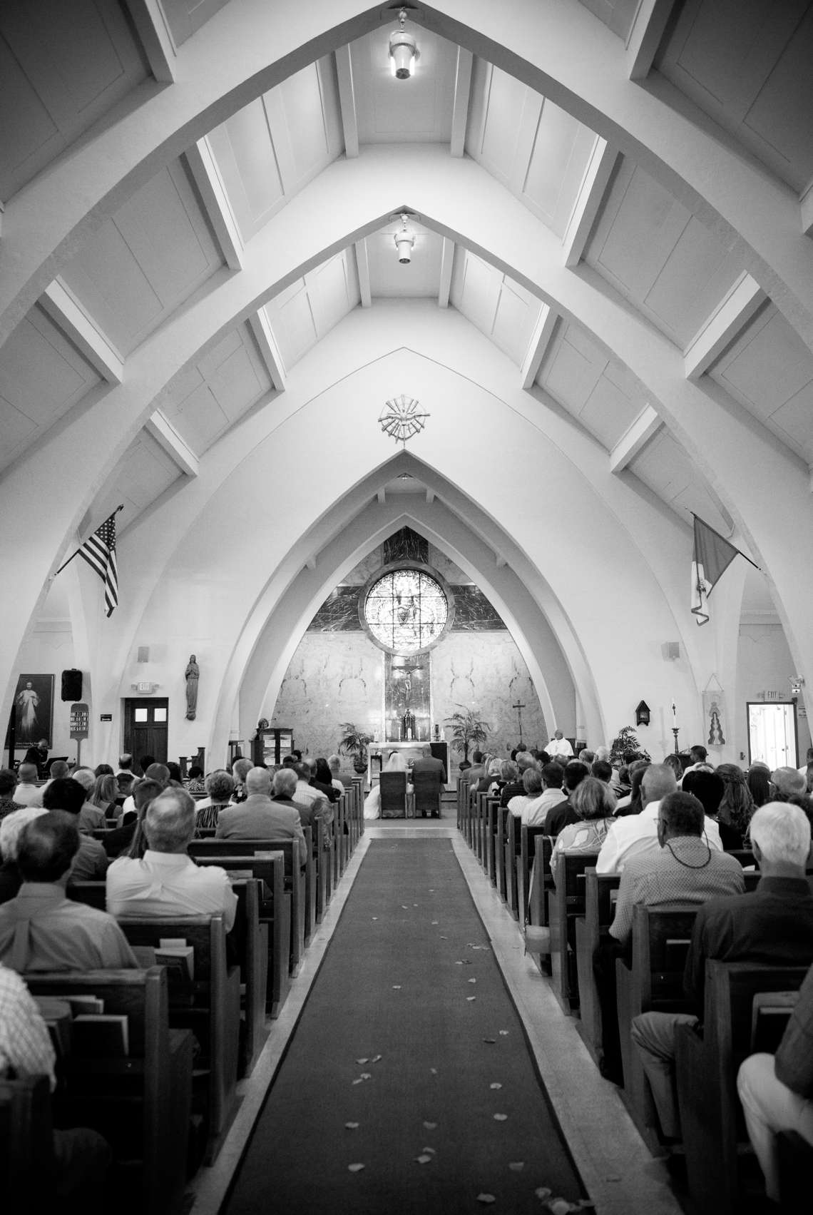black and white photo of Maine church ceremony