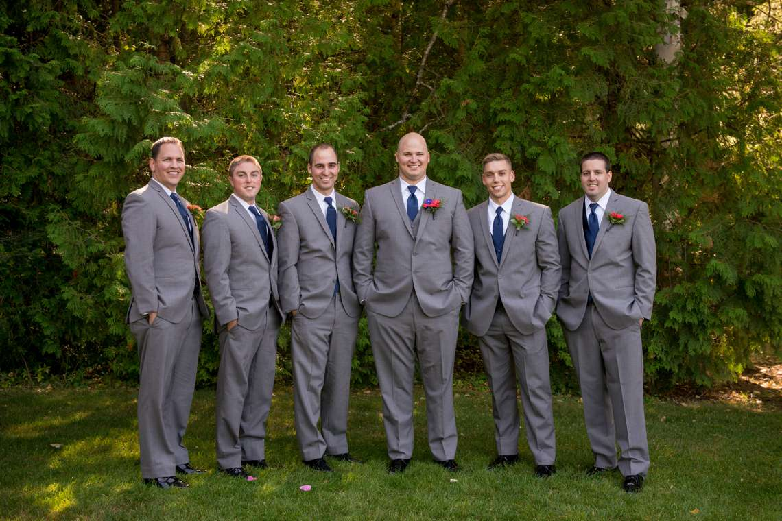 groomsmens photos in grey suits