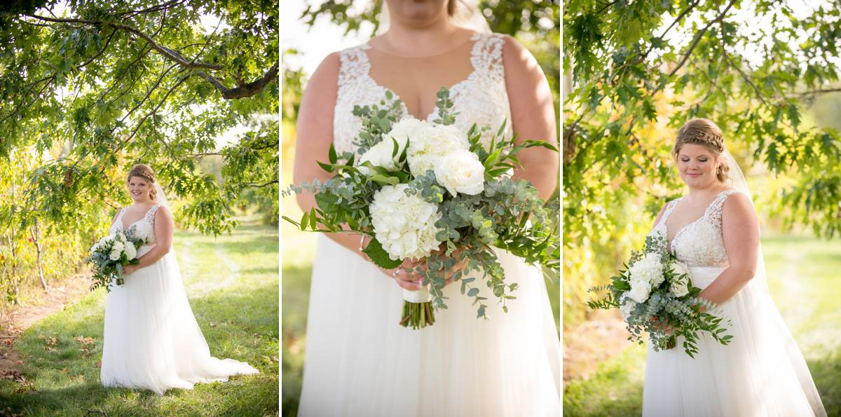 bride photos in Maine orchard