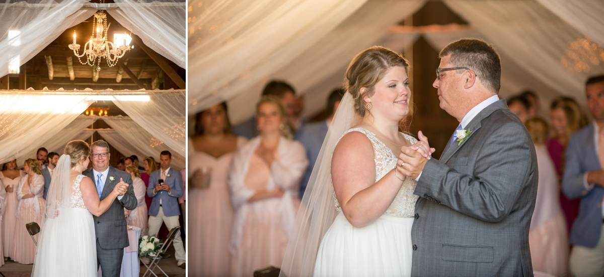 father daughter dance in barn on wedding day