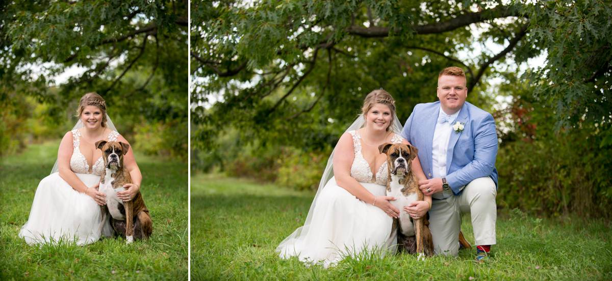 bride and groom with dog on wedding day photos in Maine